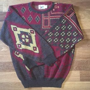 Vintage Amati Aztec Pattern V Neck Sweater